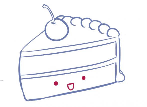 590x429 How To Draw A Kawaii (Cute) Cake Slice Cake, Kawaii And Drawings