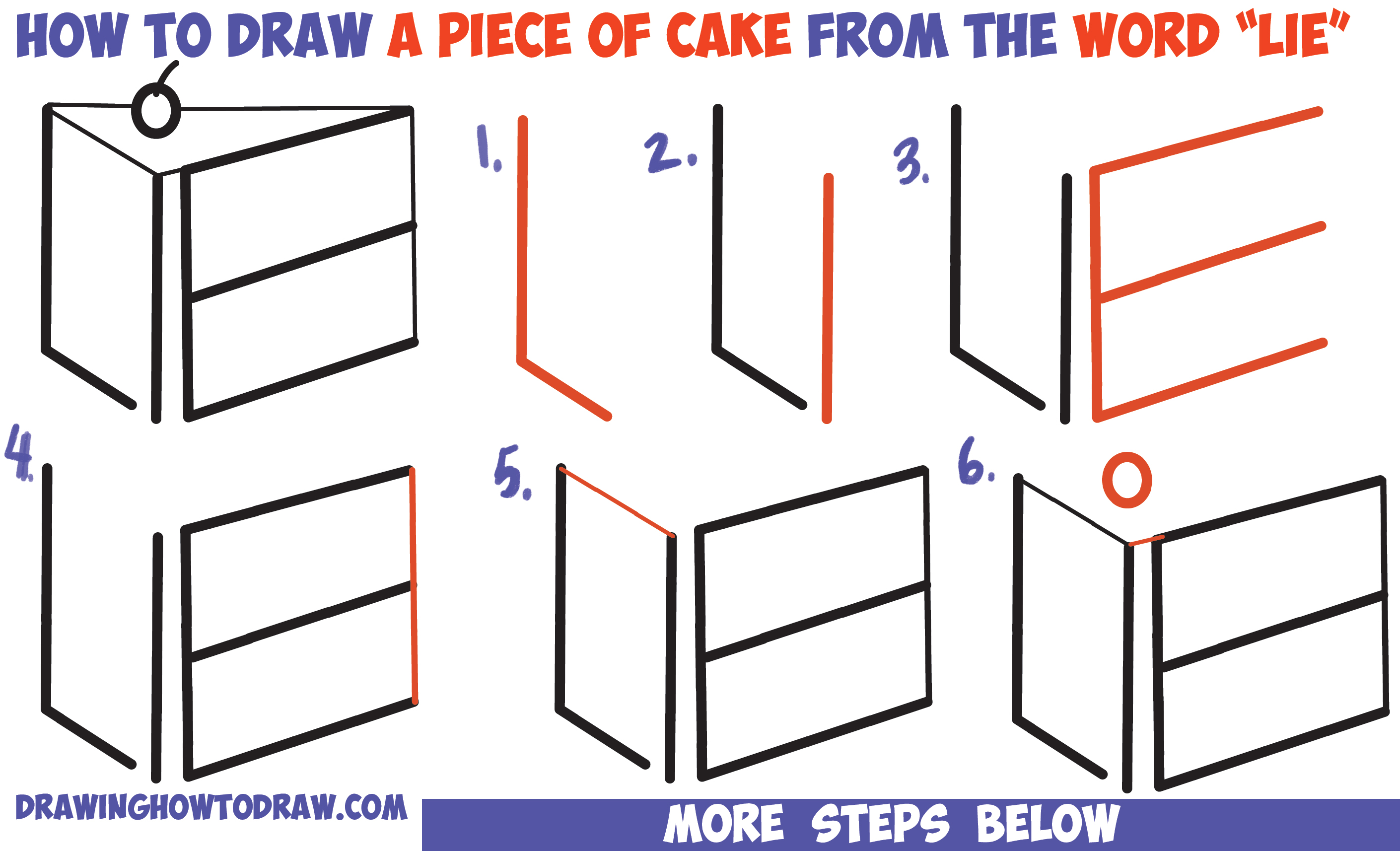 2820x1714 How To Draw A Piece Of Cake From The Word Lie For A Silly Joke