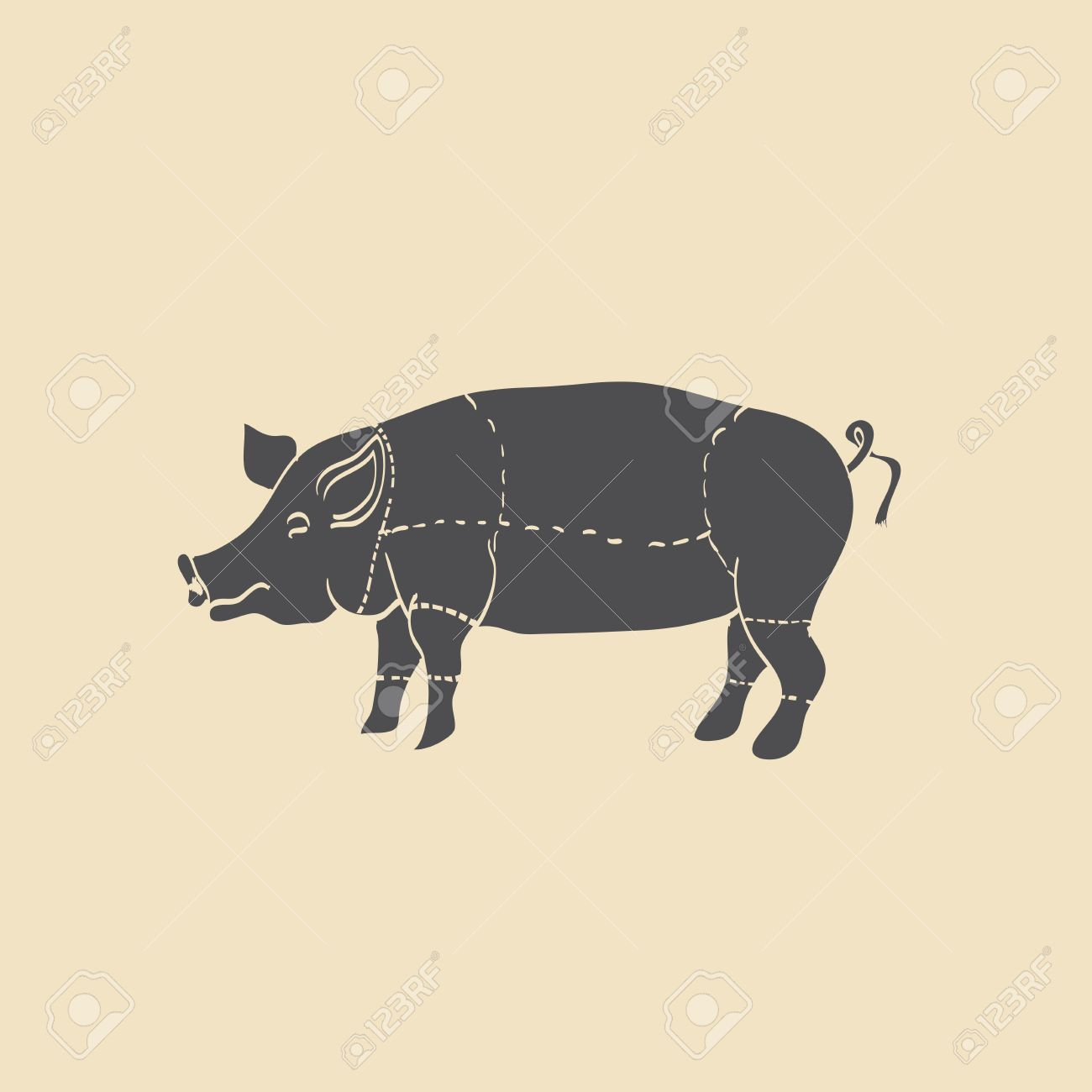 1300x1300 Pig Icon, Vector Pig Silhouette, Isolated Butcher Shop Sign