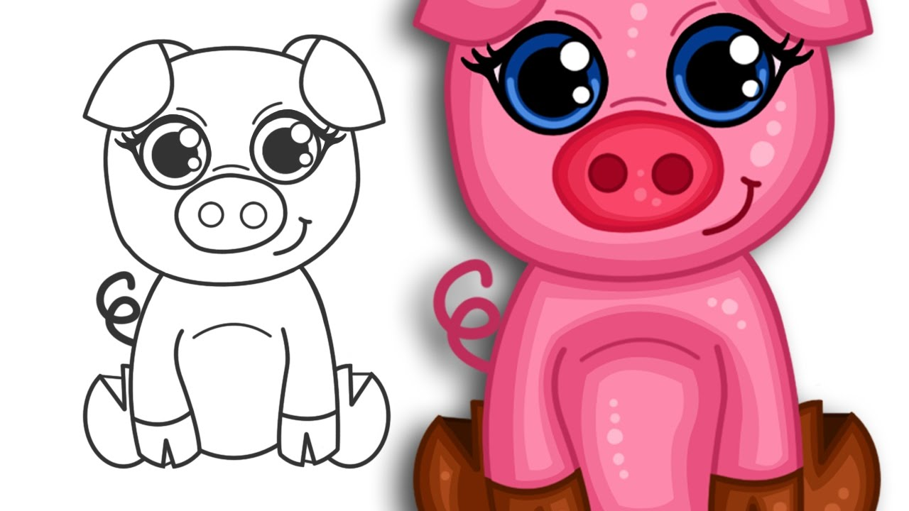 1280x720 How To Draw A Super Cute Cartoon Pig Step By Step Drawing