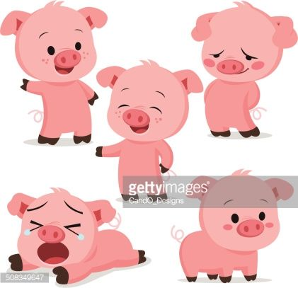 421x407 Vector Art Piglet Cartoon Set Piglets