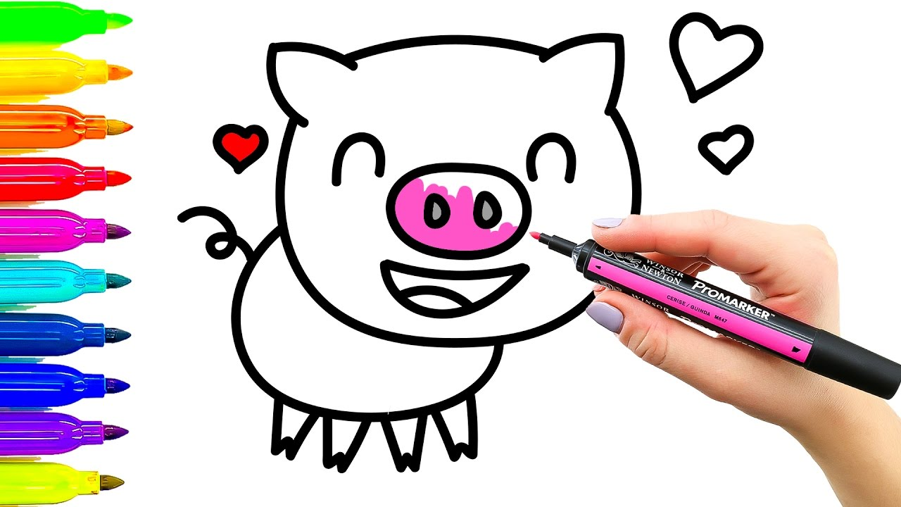 1280x720 How To Draw And Coloring Funny Pink Pig Coloring Book For Kids