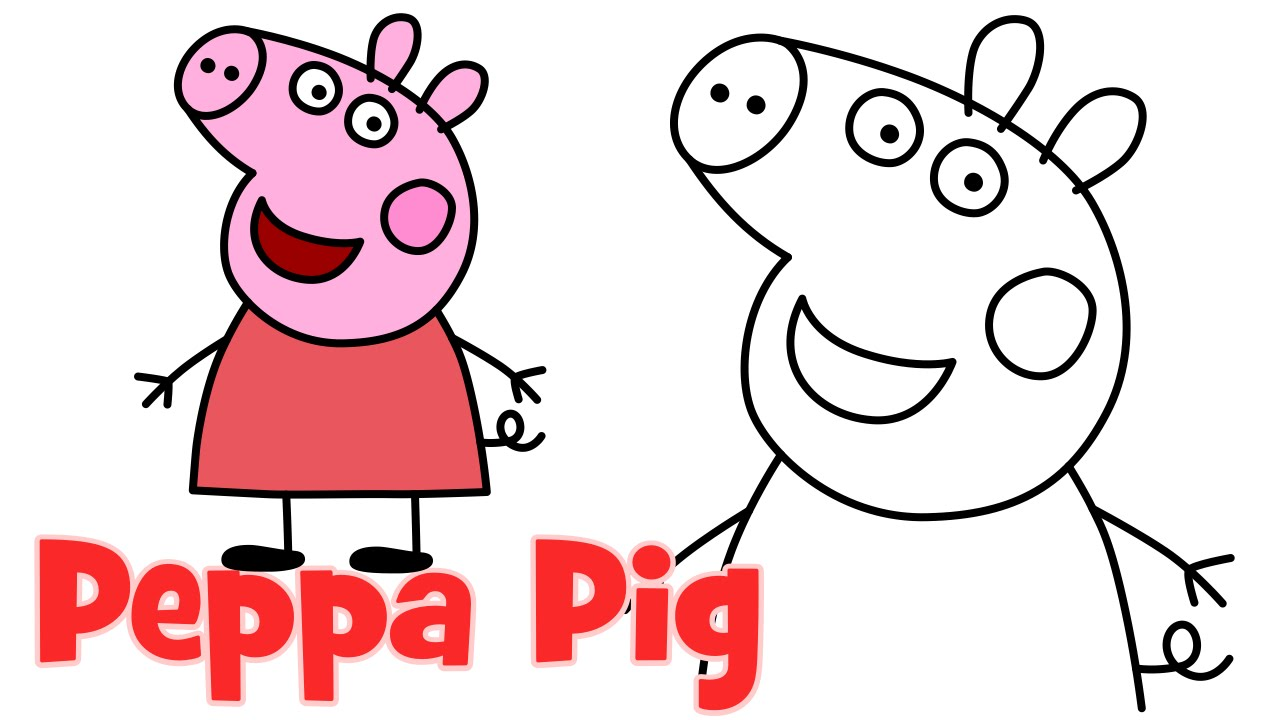 1280x720 How To Draw Peppa Pig Characters Step By Step Easy Drawing