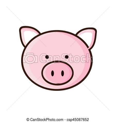 450x470 Colorful Picture Face Cute Pig Animal Vector Illustration Clipart
