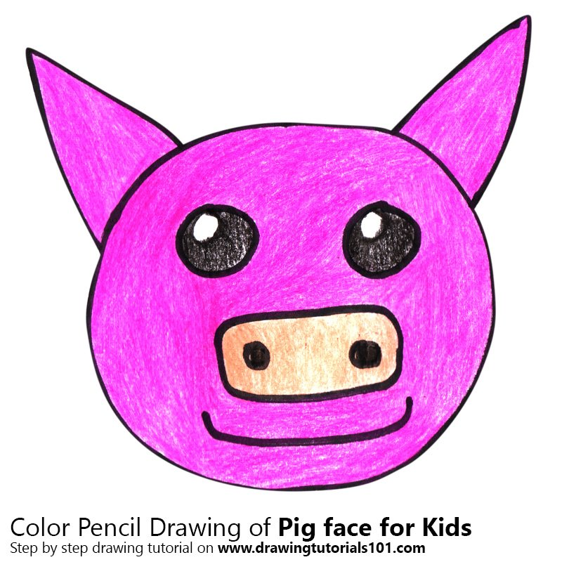 800x800 Learn How To Draw A Pig Face For Kids (Animal Faces For Kids) Step