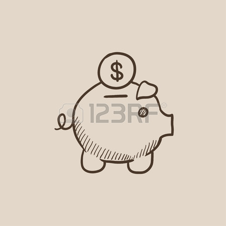 450x450 Piggy Bank With Dollar Vector Sketch Icon Isolated On Background