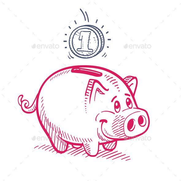 590x590 Pink Piggy Bank Drawing Pink Piggy Bank, Piggy Banks And Banks