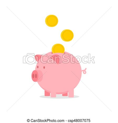450x470 Vector Piggy Bank With Falling Coins Icon Illustration Vectors