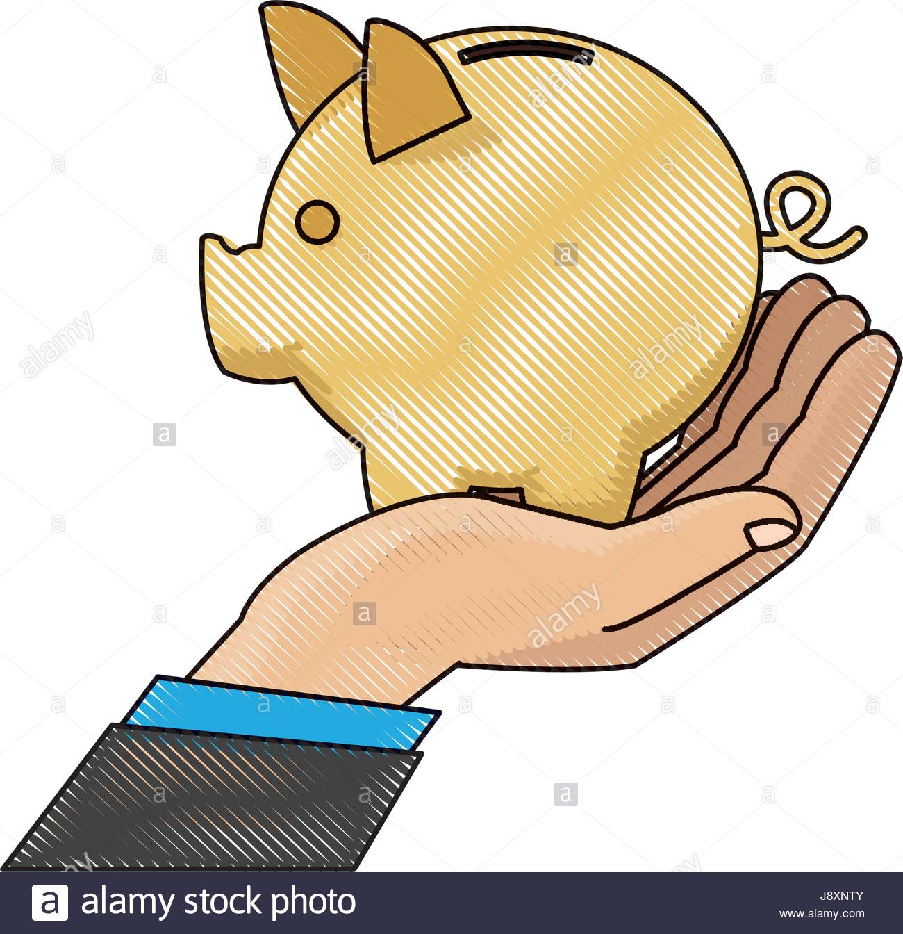 1300x1344 Drawing Hand Man Business With Piggy Bank Stock Vector Art