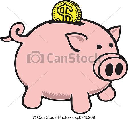 450x420 Dollar Coin Falling Into Piggy Bank Eps Vectors