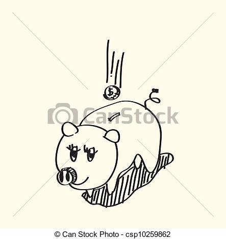 443x470 Hand Drawn Piggy Bank On Paper Clip Art Vector