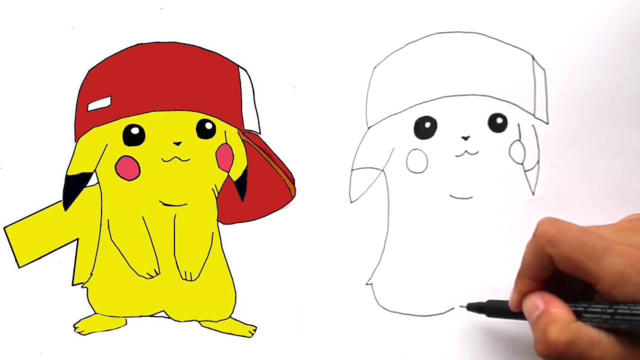 1280x720 How To Draw Pikachu With Ash's Hat Step By Step