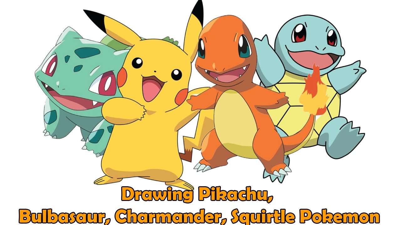 1280x720 Easy Drawings For Kids Drawing Pikachu, Bulbasaur, Squirtle