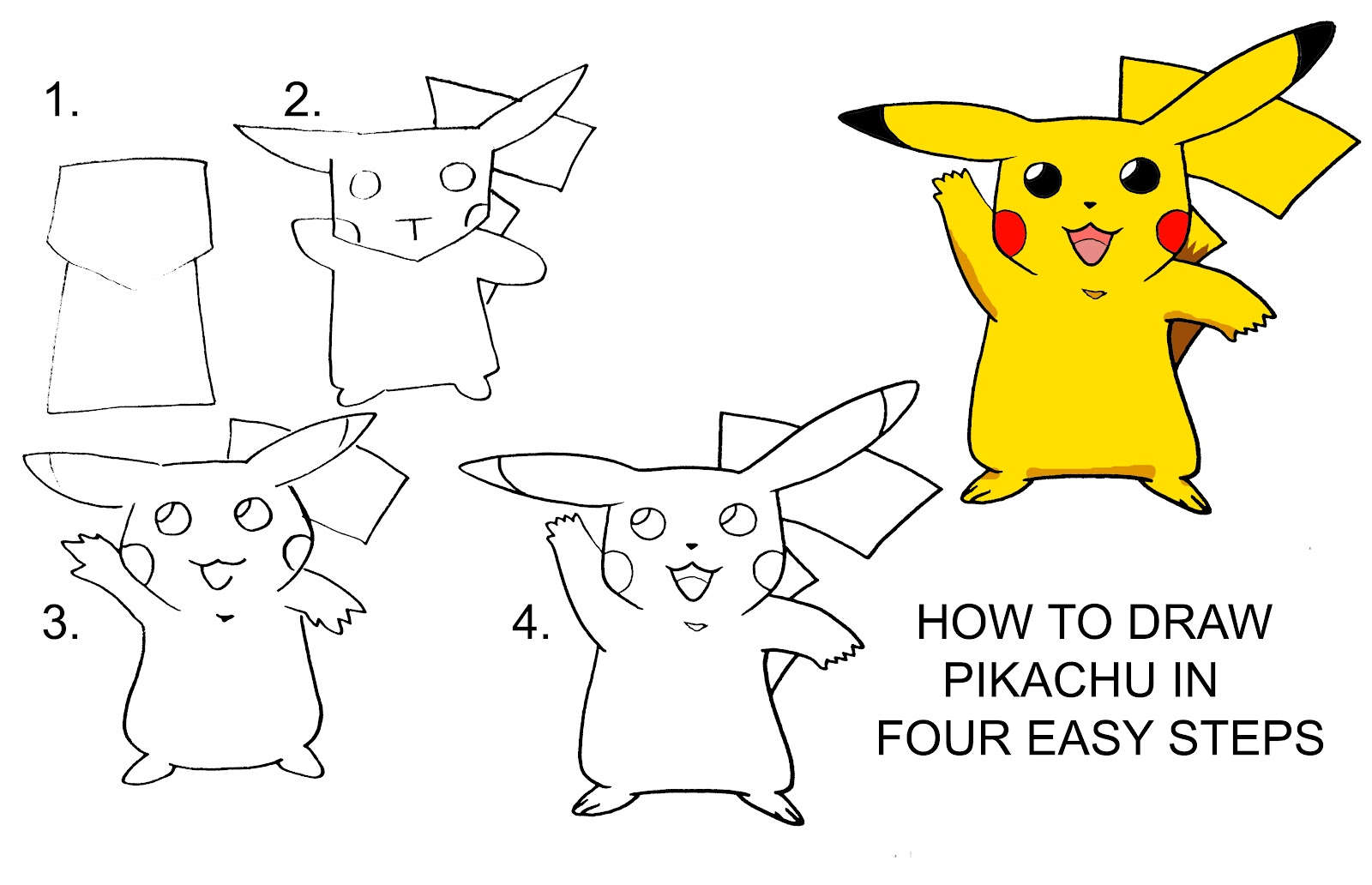 1600x1032 How To Draw Pikachu Step By Step Daryl Hobson Artwork