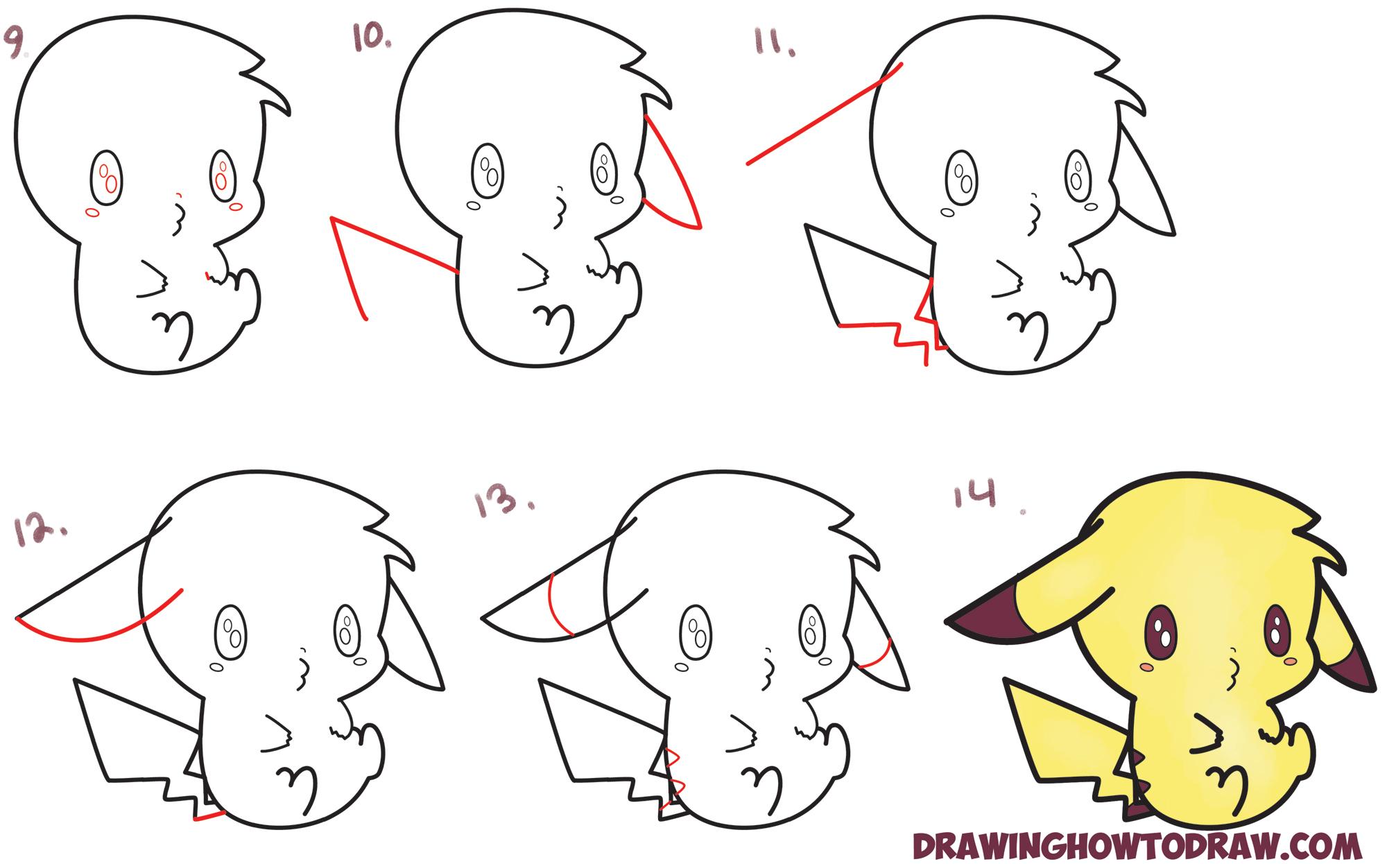 2000x1246 Learn How To Draw An Adorable Pikachu (Kawaii Chibi) Easy Step