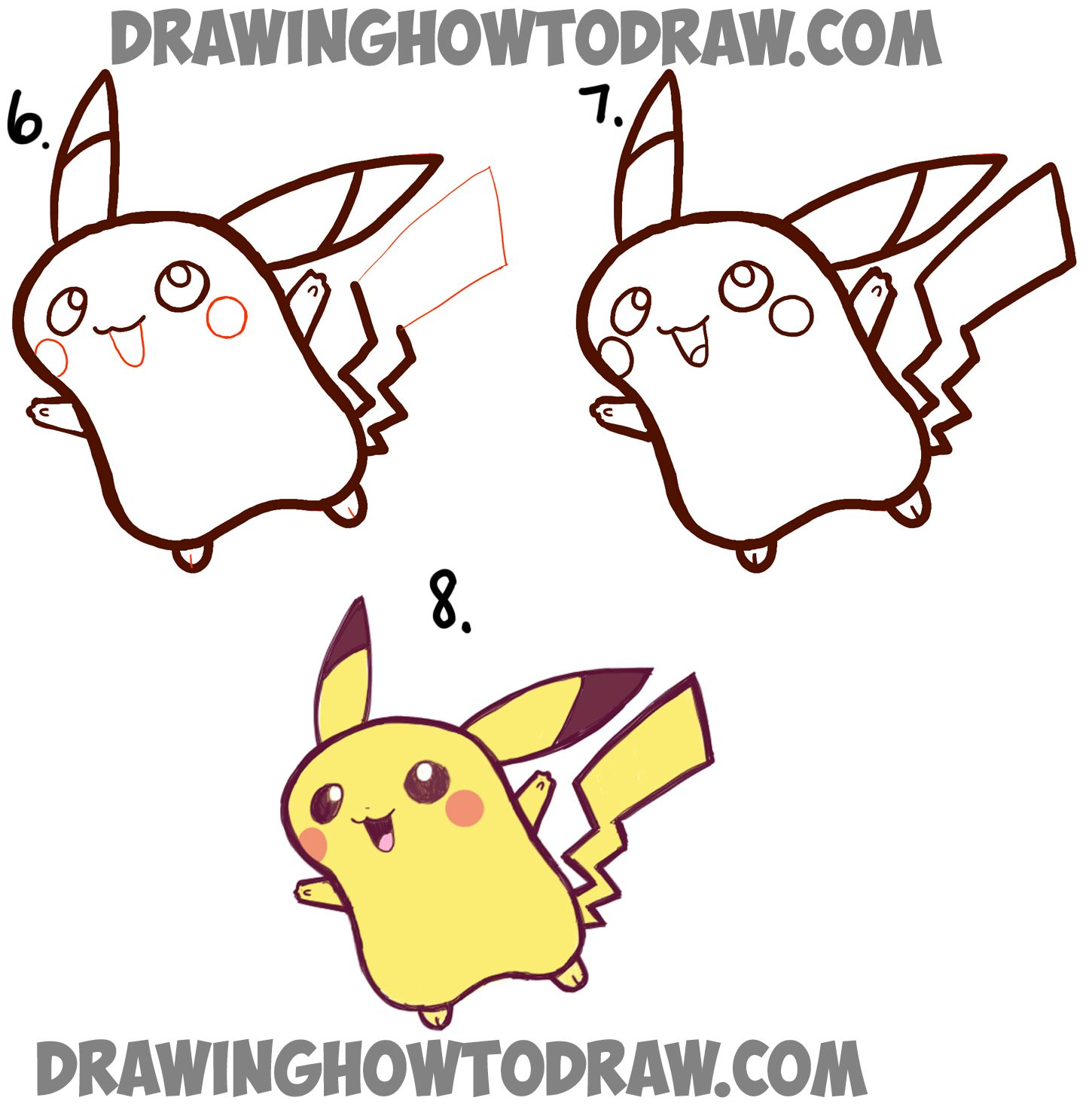 1450x1485 How To Draw Cute Baby Chibi Pikachu From Pokemon