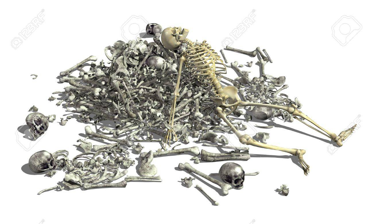 1300x782 A Pile Of Human Bones With An Intact Skeleton On Top