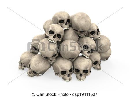 450x335 Pile Of Skulls Isolated On White Background. 3d Render Stock