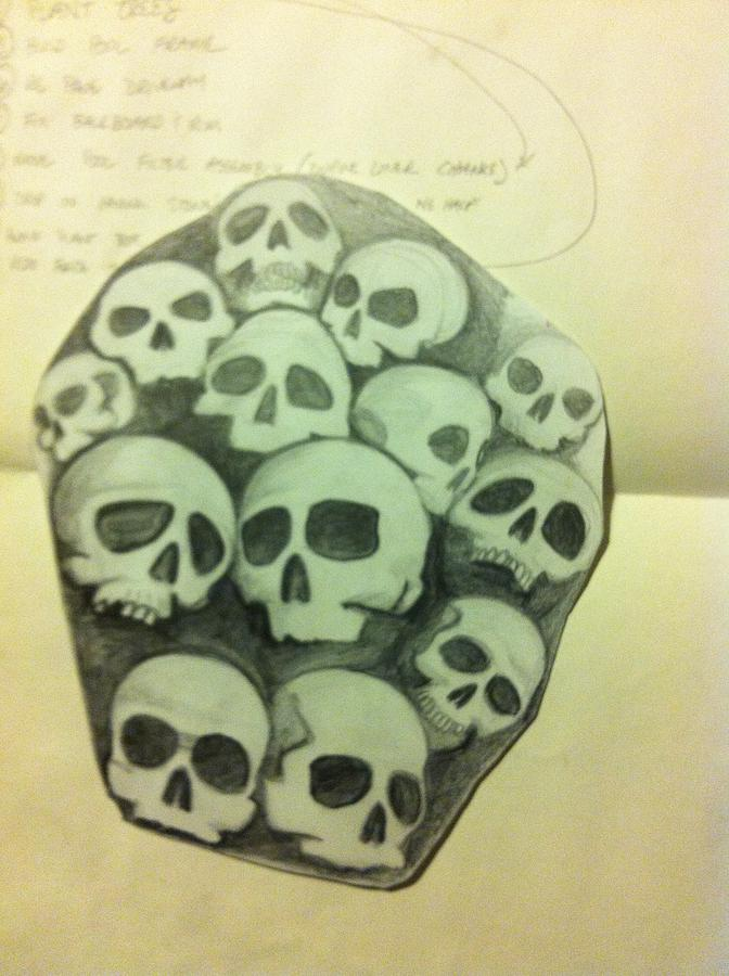 672x900 Skull Pile Forearm Drawing By J D