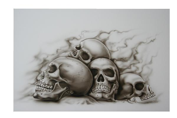 600x400 Skull Pile Painting By Terry Stephens