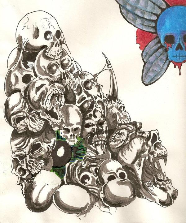 600x721 Skull Pile Inked By Soundscream