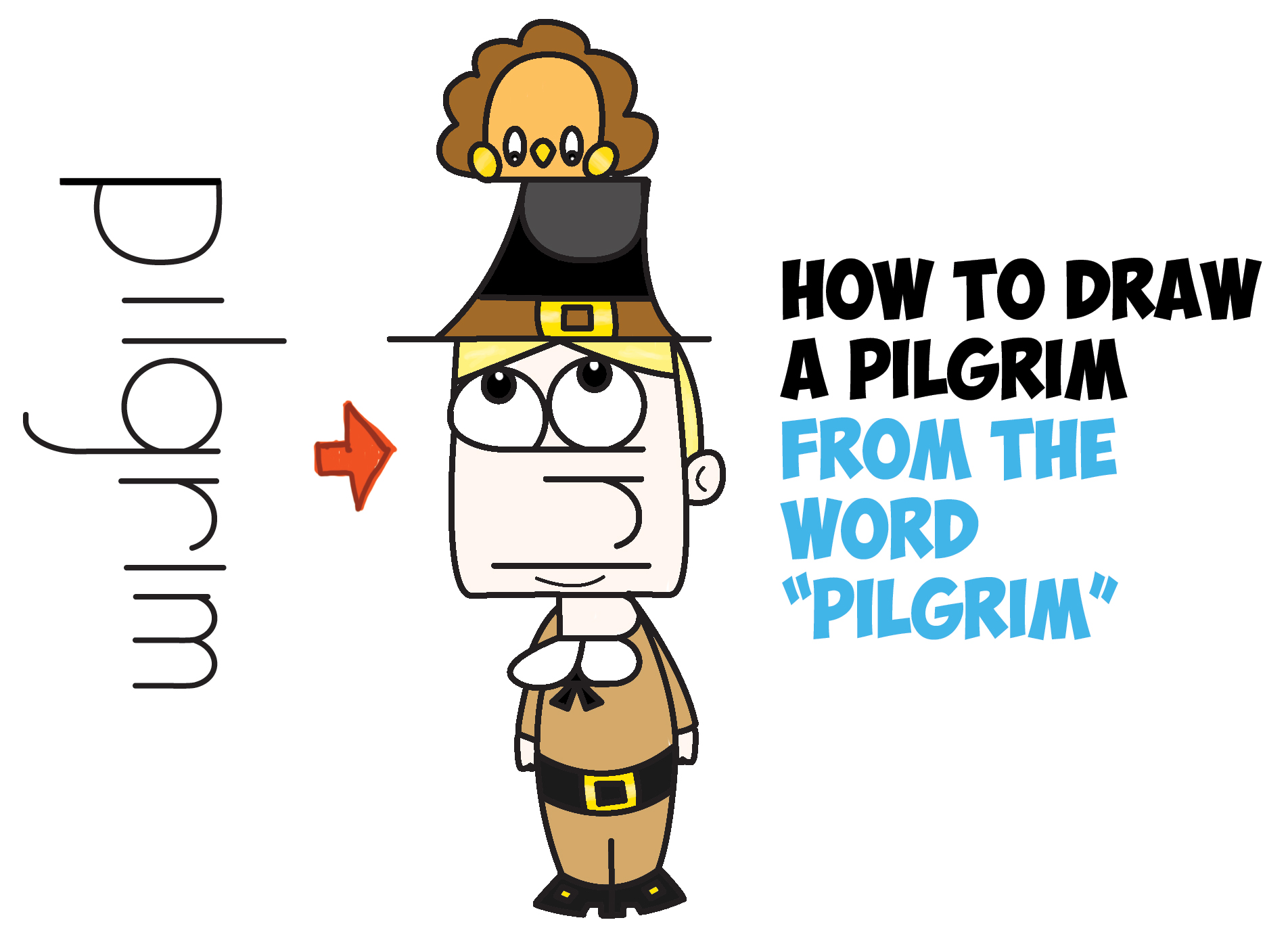 1904x1388 How To Draw A Cartoon Pilgrim From The Word (Word Toon) Easy Step
