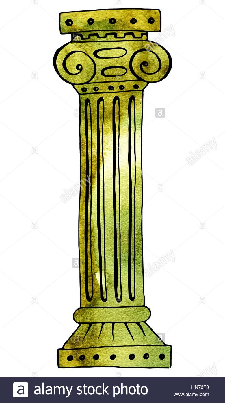 779x1390 Ancient Roman Column. Hand Drawing And Computer Processing.