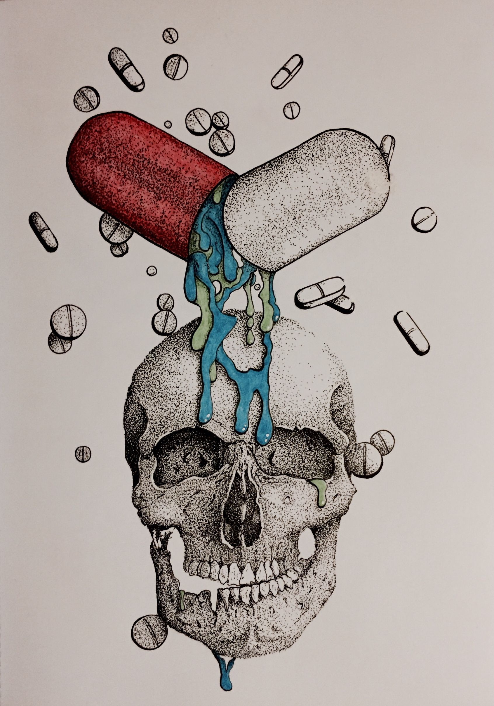 1692x2416 Dotwork, Skull, Illustration, Drawing, Art, Pills, Surreal