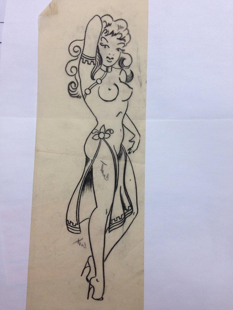 768x1024 Sailor Jerry Original Pin Up Girl Drawing 14 Tall Tattoo Artist