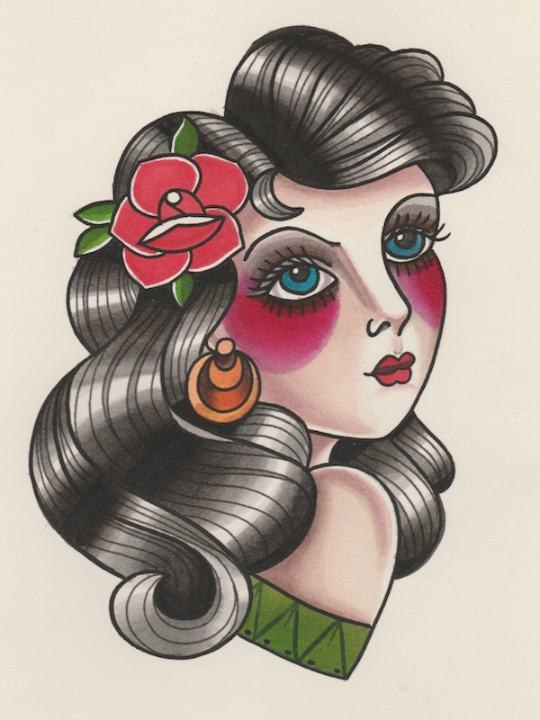 600x800 How To Draw A Vintage Pin Up Portrait Tattoo Illustration
