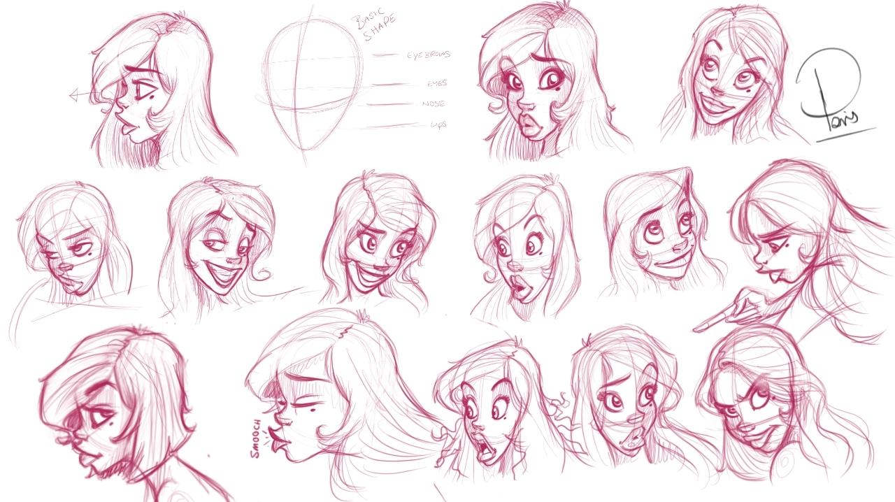 1280x718 Pin Up Girl Face Drawing