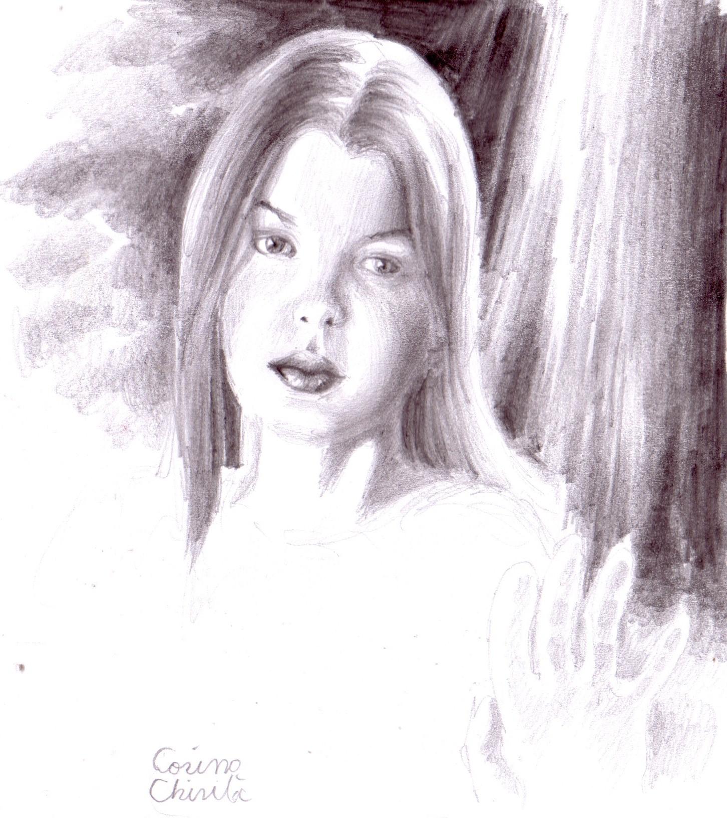 1452x1632 Beautiful Girls Woman Pincel Drawings Portrait Korinna'S