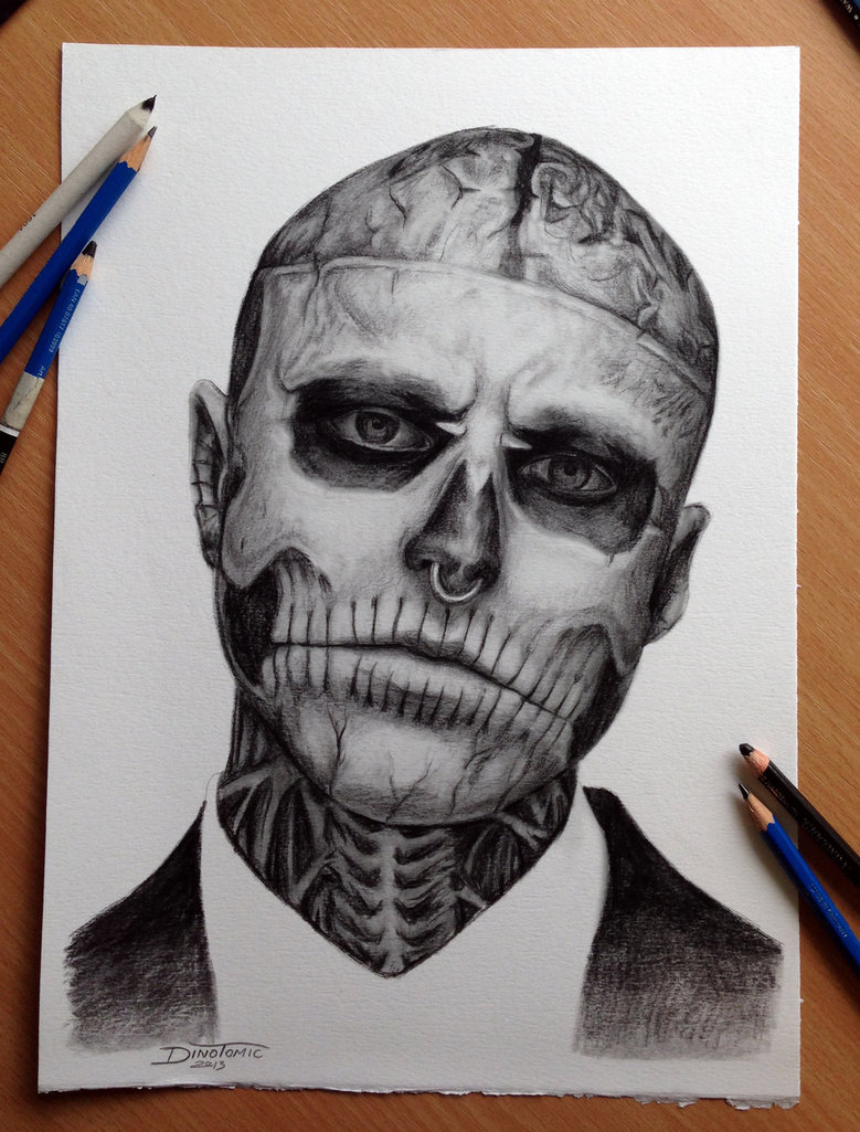 779x1025 My Pencil Drawing Of Rick Genest Aka Zombie Boy By Atomiccircus
