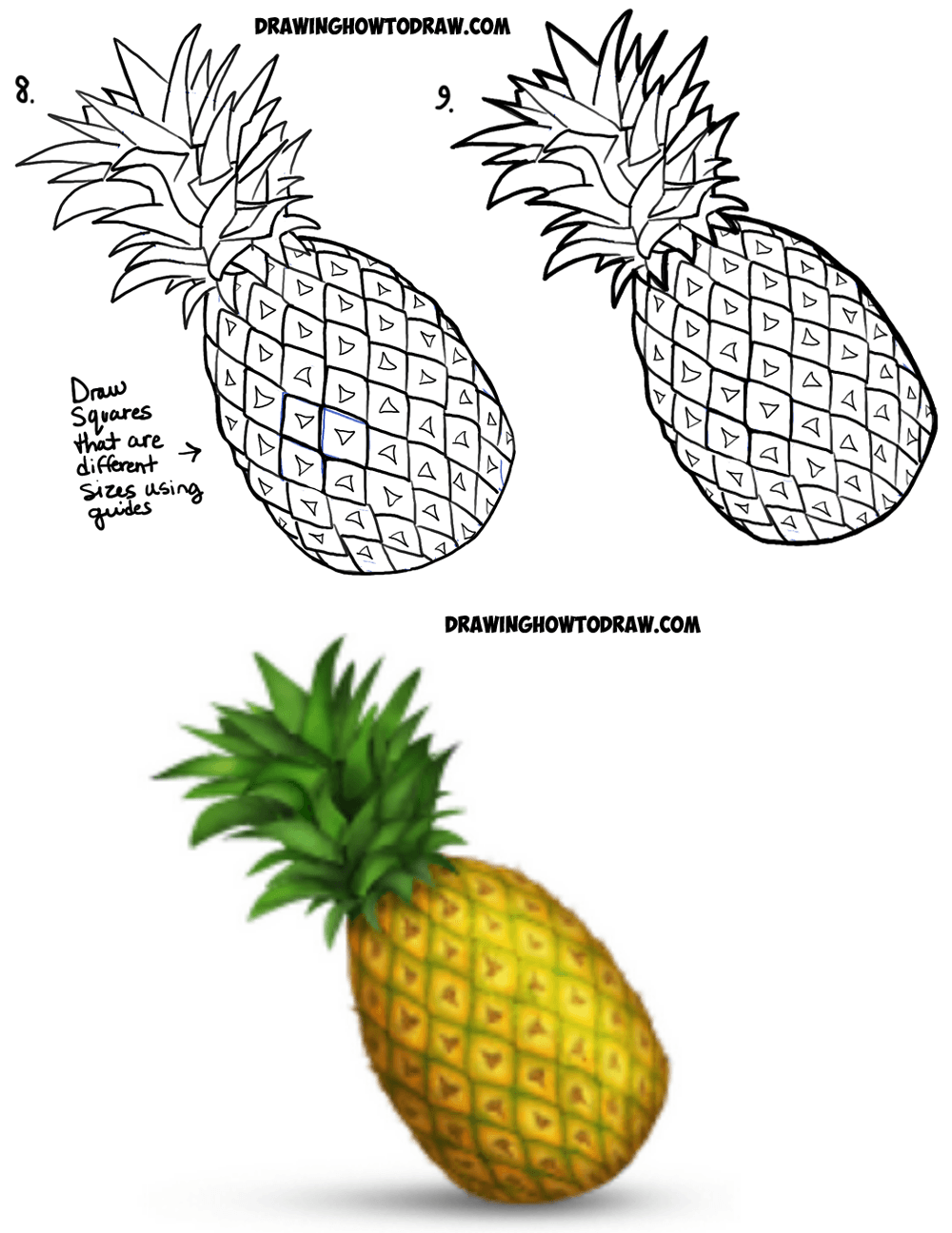 1000x1296 How To Draw A Pineapple Emoji Easy Step By Step Drawing Tutorial