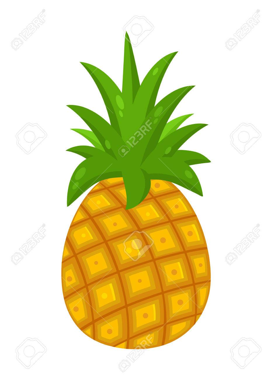 932x1300 Pineapple Fruit With Green Leafs Drawing Flat Simple Design