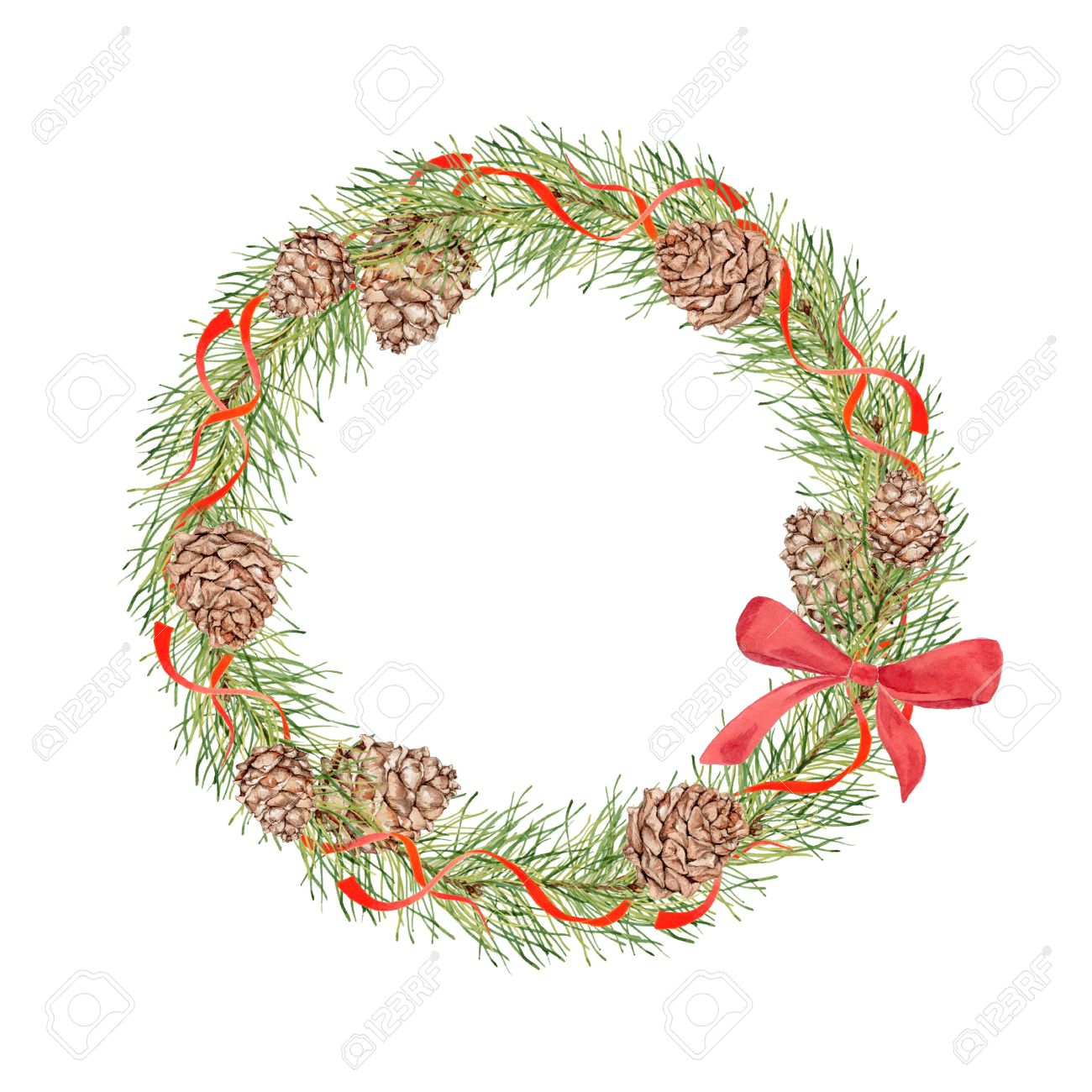1300x1300 Christmas Wreath With Pine Cones, Pine Branches And Red Ribbons