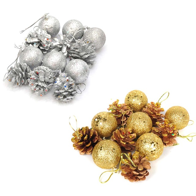 640x640 12pcs Christmas Tree Hanging Balls Gold Silver Pine Cone Color