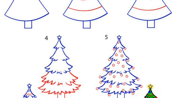 570x320 A Drawing Of A Christmas Tree How To Draw A Christmas Tree Step By