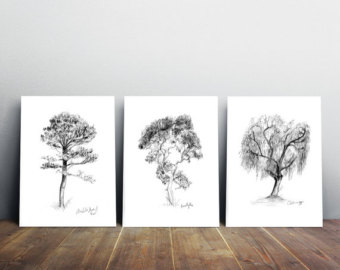 340x270 Pine Tree Drawing Etsy