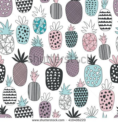450x470 Vector Seamless Pattern With Pineapples. Drawing Seamless