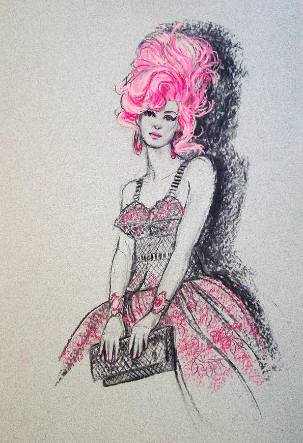 617x900 Pretty In Pink Hair Drawing By Sue Halstenberg
