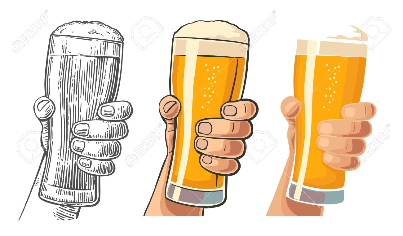 1300x762 Male Hand Holding A Beer Glass. Drawing In Three Graphic Styles