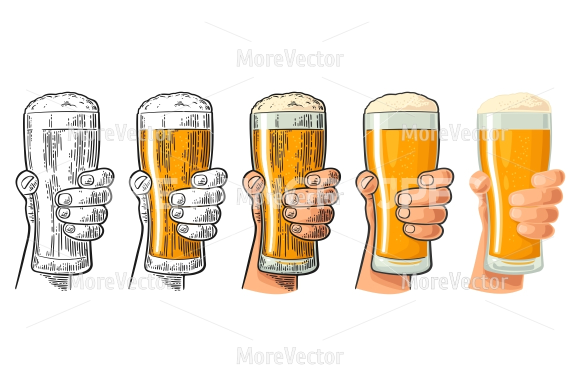 1160x772 Man Hand Holding And Clinking Beer Glass With Foam. Drawing