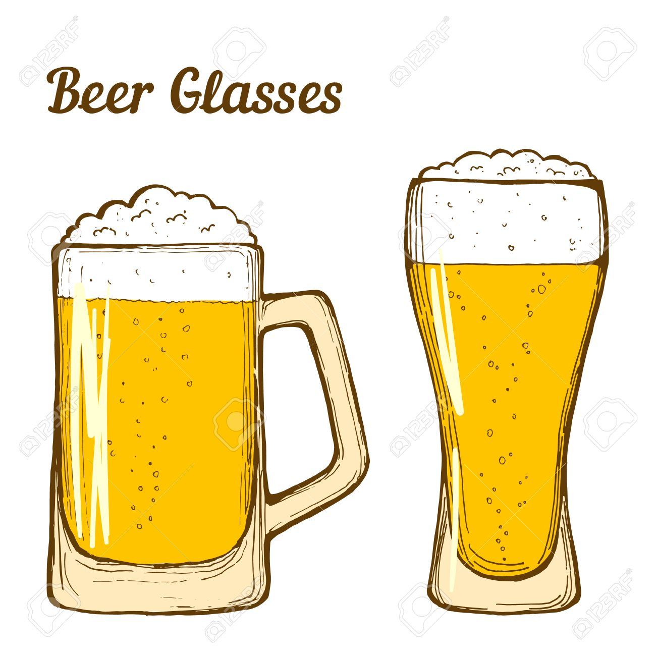 1300x1300 Two Glasses Of Beer, Hand Drawing Line Art. Vector. Royalty Free