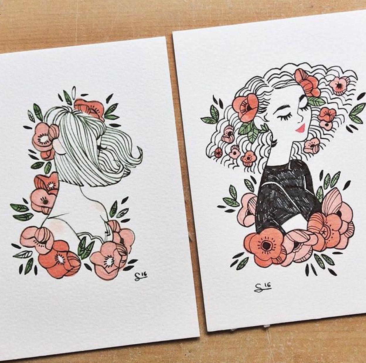 1249x1237 Flowers In My Hair Artsy Fartsy Flowers, Drawings