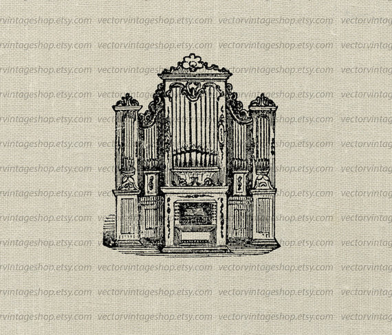 570x488 Church Organ Vector Clipart Graphic Instant Download Pipe