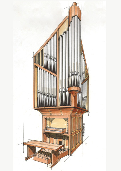 425x600 Drawing Of Organ Designed For Corner Location Pipe Organs