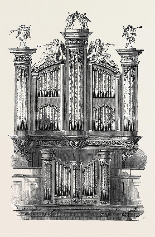 588x900 The Organ At St. Jamess Church, Piccadilly Drawing By English School