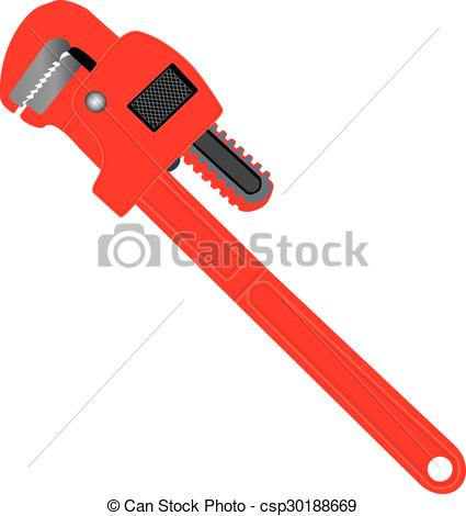 425x470 A Red Pipe Wrench Isolated On White Clip Art Vector