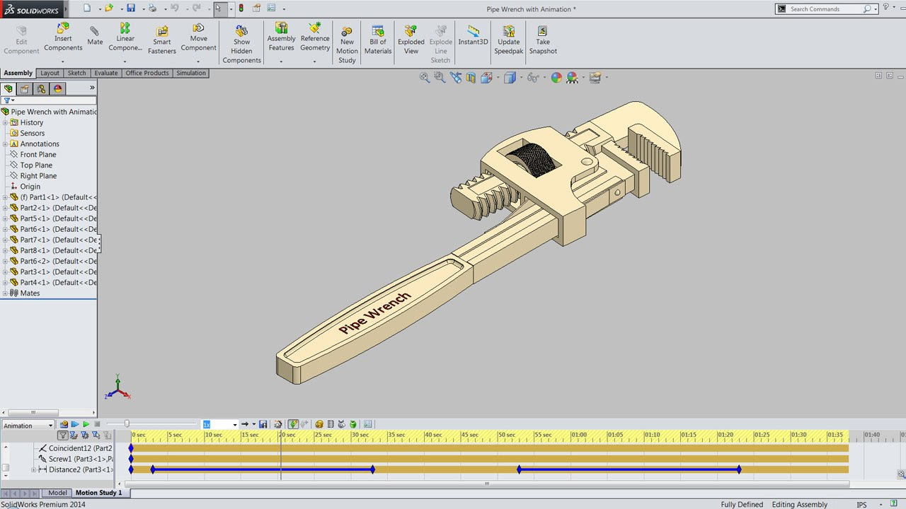 1280x720 Animation By Precise Positioning Display In Pipe Wrench Solidworks